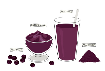 super food variety: acai berry, acai bowl, acai juice and acai powder